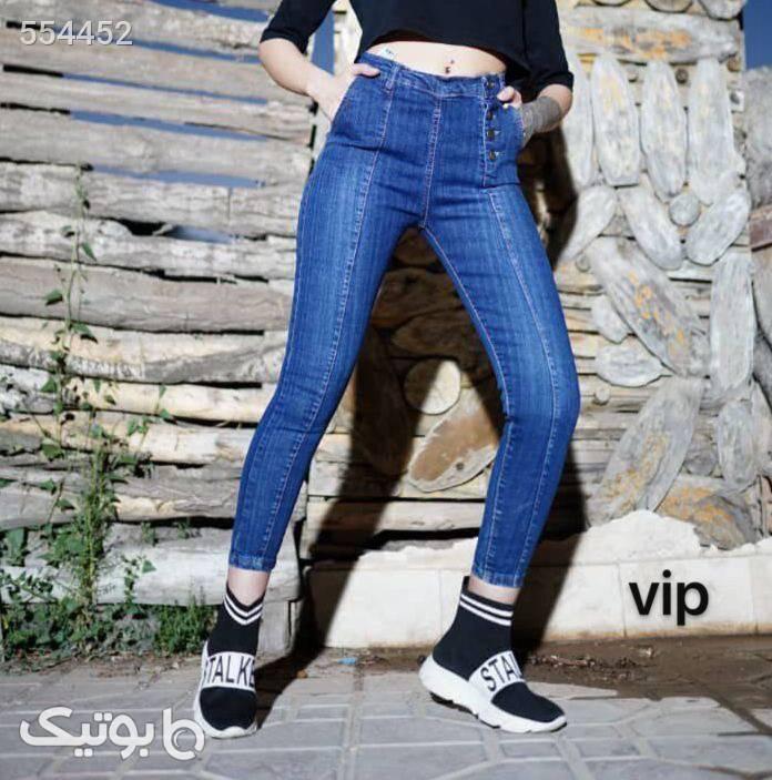 شلوار جين فاق استاندارد تنخور بي نظير آبی شلوار پارچه ای و کتانی زنانه
