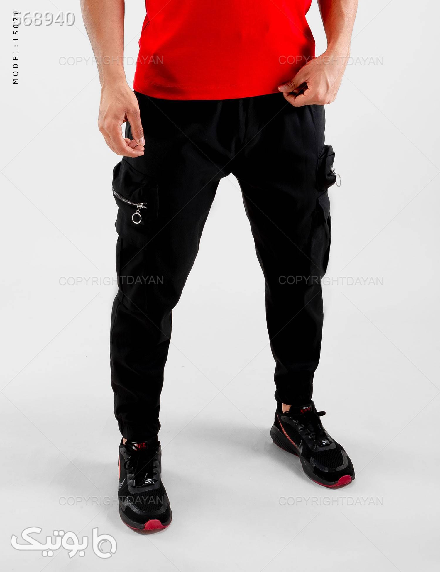 شلوار اسلش مردانه  Enzo  مدل 15078 مشکی شلوار مردانه پارچه ای و کتان مردانه