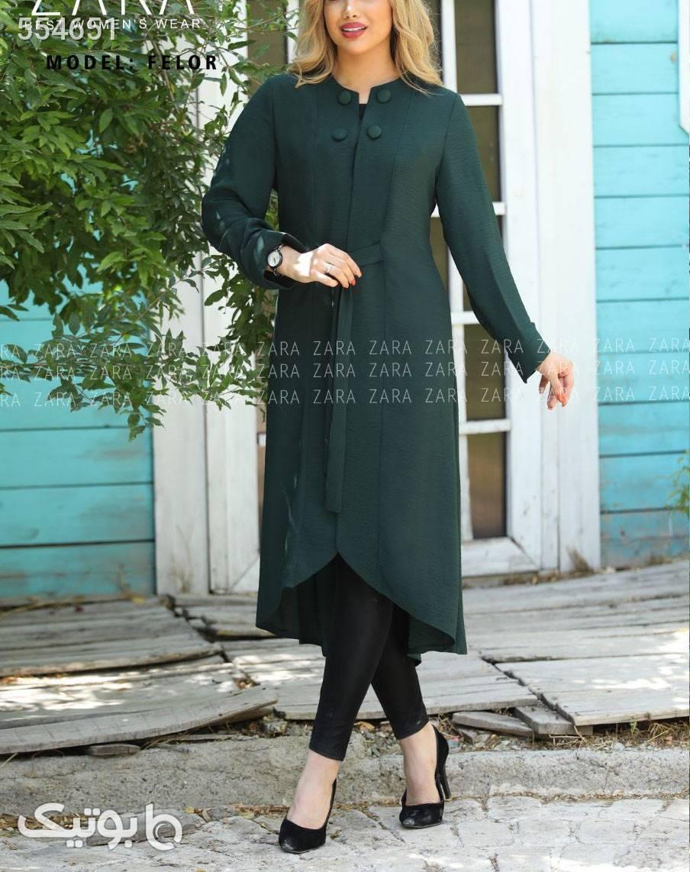 مدل فلور مانتو سایزبزرگ جنس :  آلما  آبی مانتو