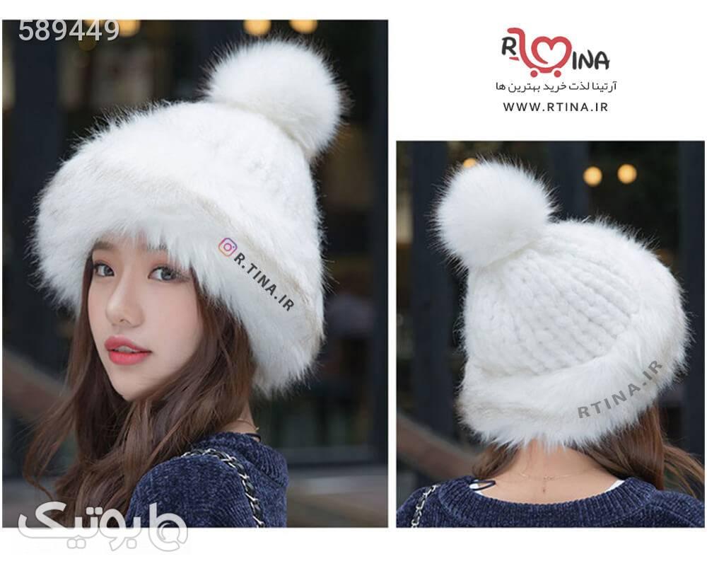 کلاه بافت پشمی زمستانی مدل B2 سفید کلاه بافت و شال گردن و دستکش