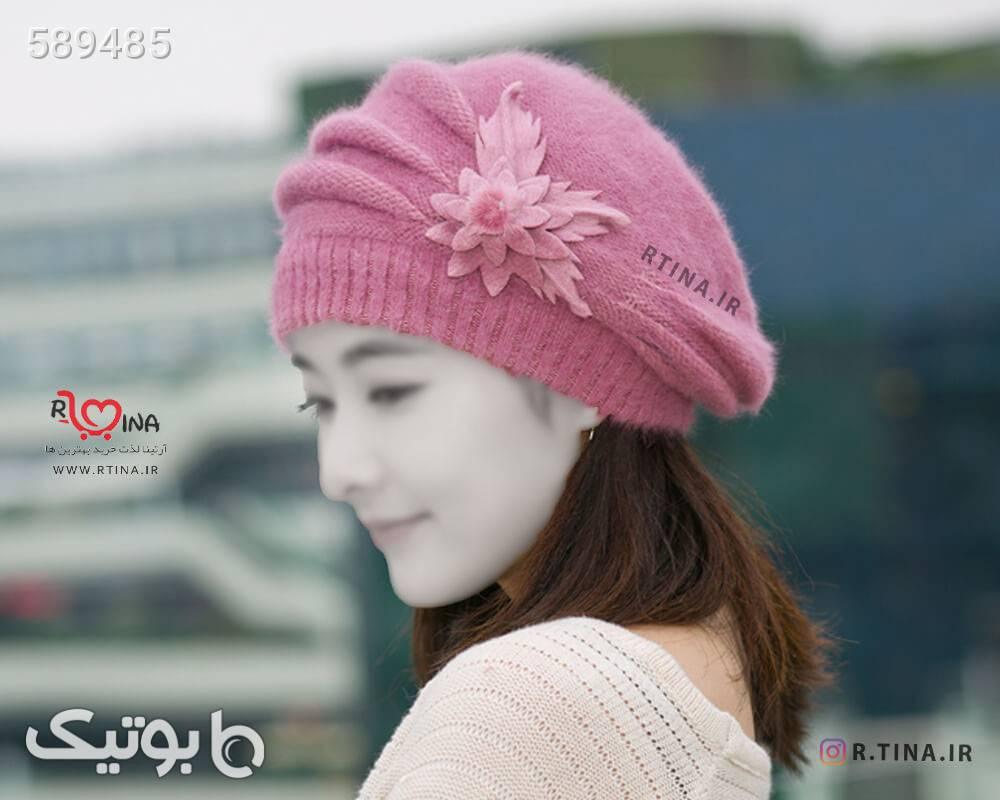 کلاه پشمی زمستانی زنانه مدل B3 صورتی کلاه بافت و شال گردن و دستکش