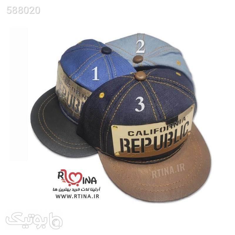 کلاه کپ پسرانه و دخترانه مدل پلاک دار REPUBLIC قهوه ای کلاه و اسکارف