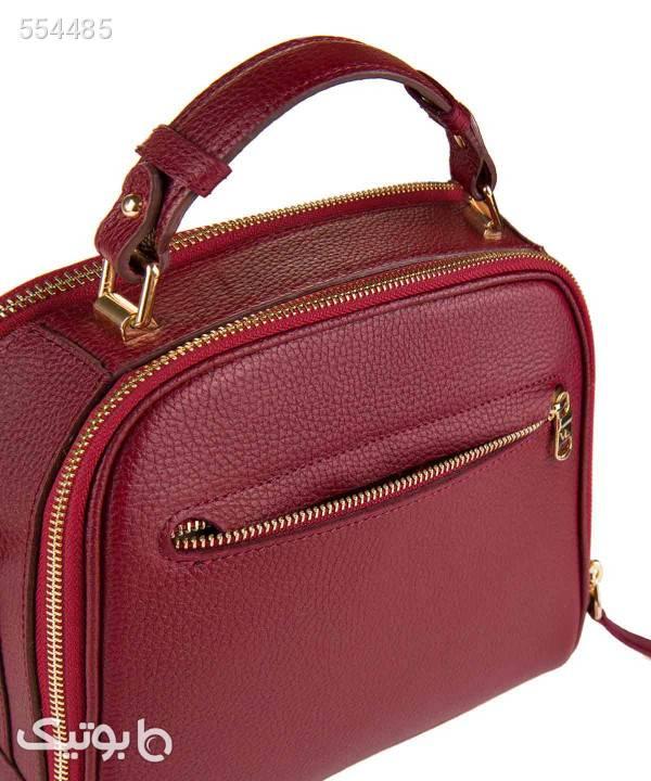 کیف دوشی زنانه چرم مشهد Mashad Leather مدل S5093-001 زرشکی كيف زنانه