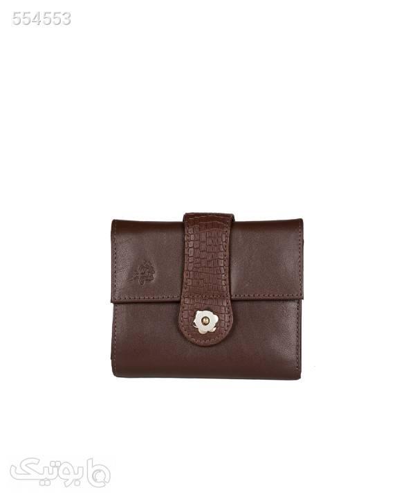 کیف پول جیبی زنانه مارال چرم Maral Leather مدل فرگل قهوه ای کیف پول و جا کارتی