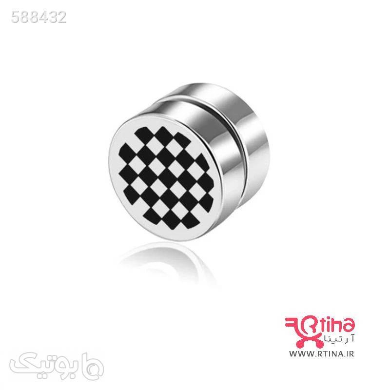 گوشواره مغناطیسی بدون سوراخ کردن گوش تکی مدل شطرنجی گوشواره