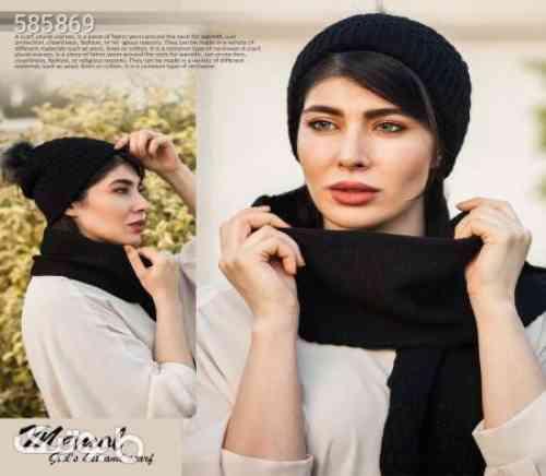 ست کلاه و شال گردن دخترانه  Memol  مشکی 99 2020