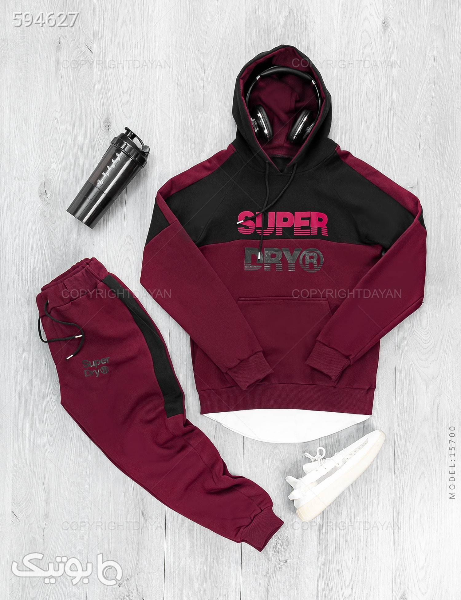 ست سویشرت و شلوار مردانه Superdry مدل 15700 زرشکی ست ورزشی مردانه