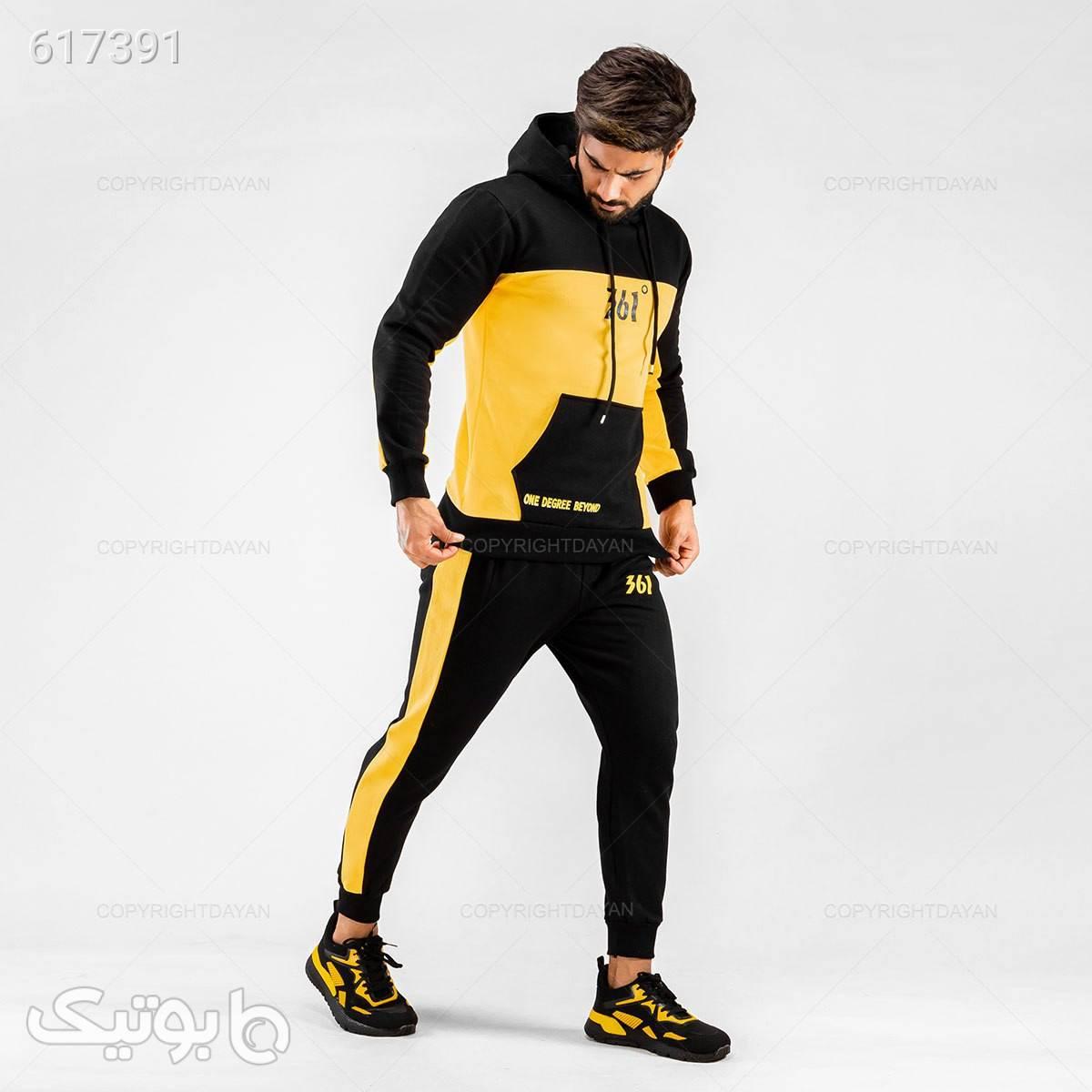 ست سویشرت و شلوار پاییزی 361 درجه  زرد ست ورزشی مردانه