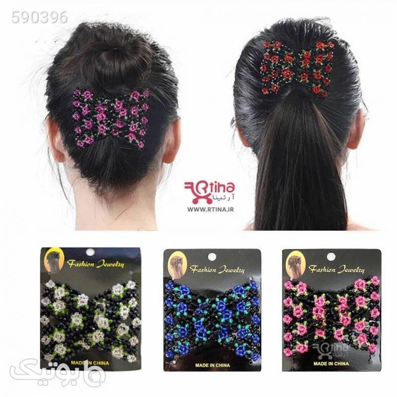 شانه جادویی فلزی کریستالی مدل گل دار آبی سنجاق سر و آرایش مو
