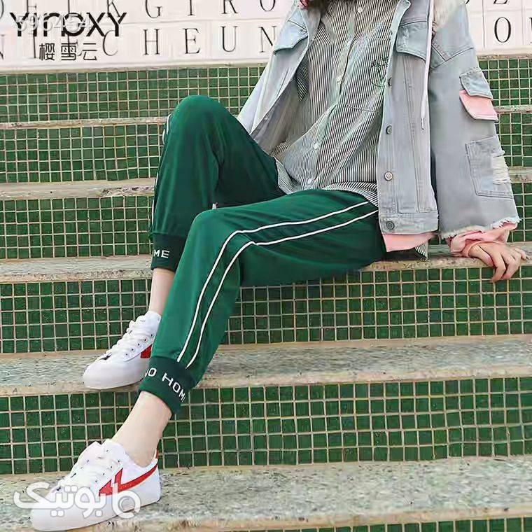 شلوار دم پا کش سبز شلوار پارچه ای و کتانی زنانه