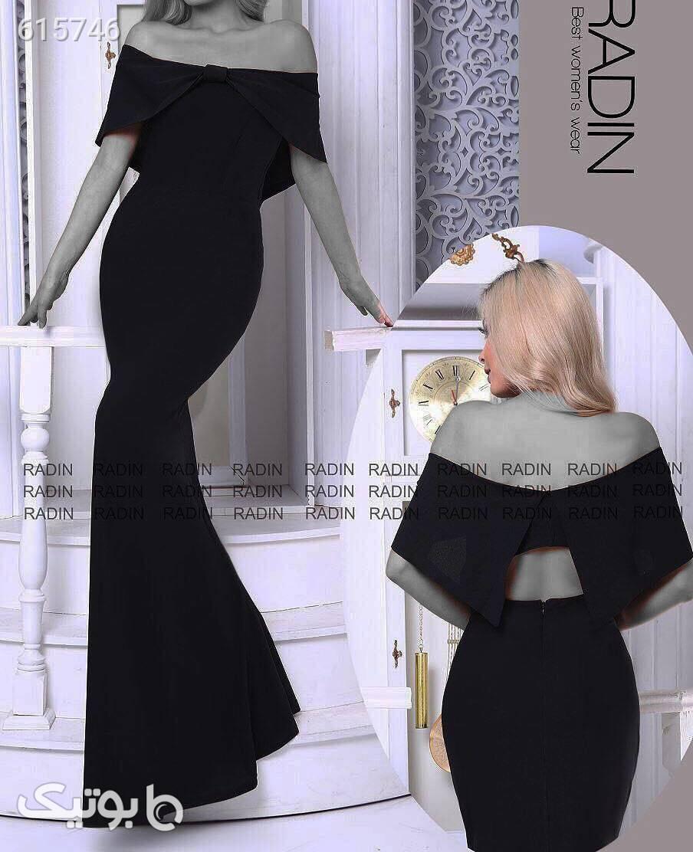 لباس مجلسی کرپ کش مدل فریبا  مشکی لباس  مجلسی