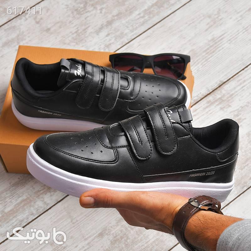 کفش مردانه چرم مصنوعی مدل مهرین مشکی كفش مردانه