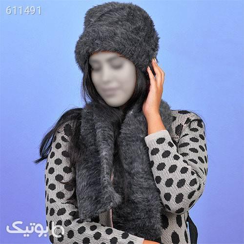 ست شال و كلاه دخترانه مدلSATIA طوسی کلاه بافت و شال گردن و دستکش