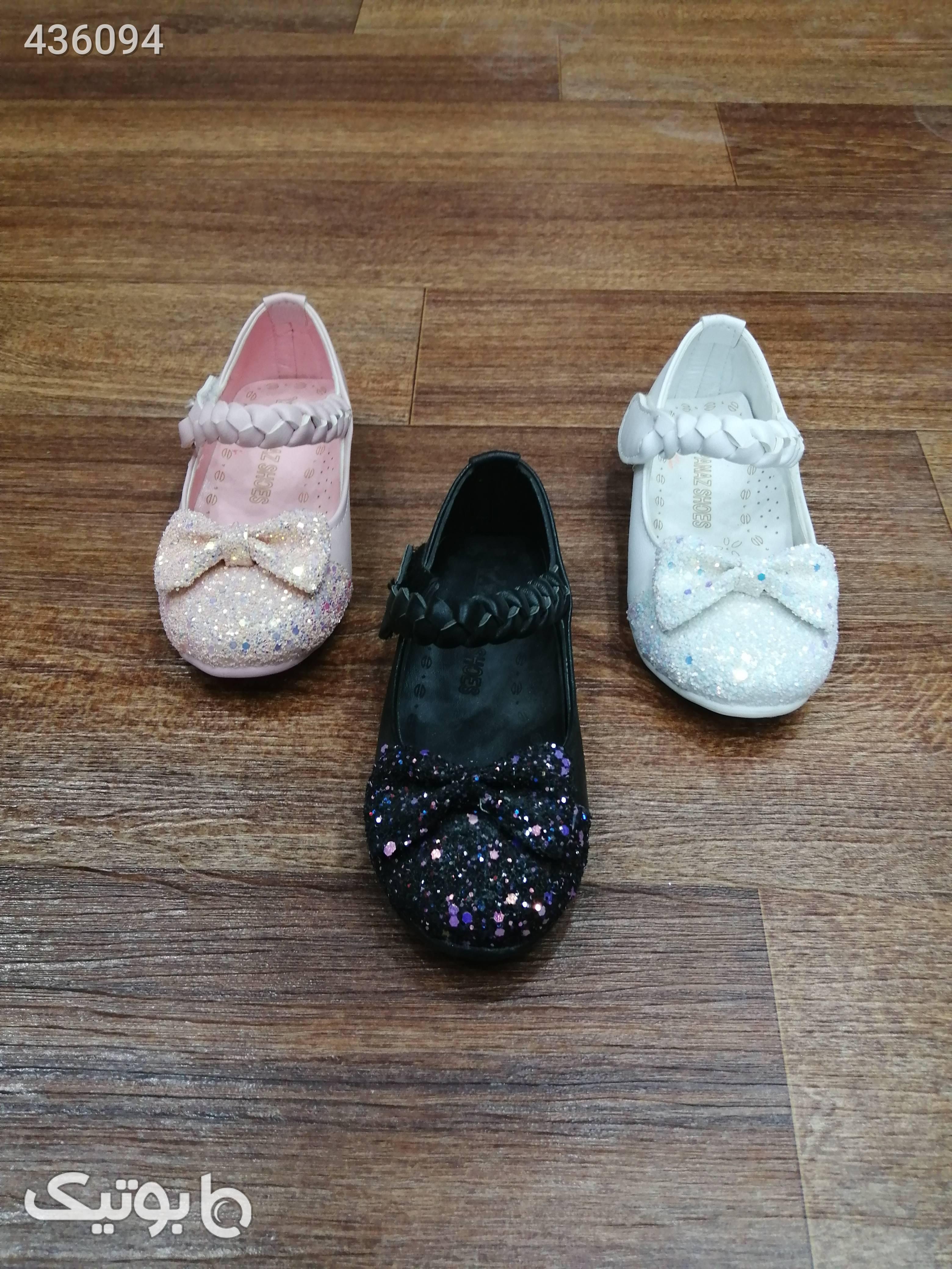 کفش دخترانه جلو اکلیل مشکی کیف و کفش بچگانه