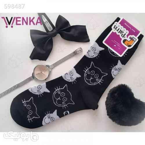 جوراب نیم ساق طرح گربه مشکی 99 2020