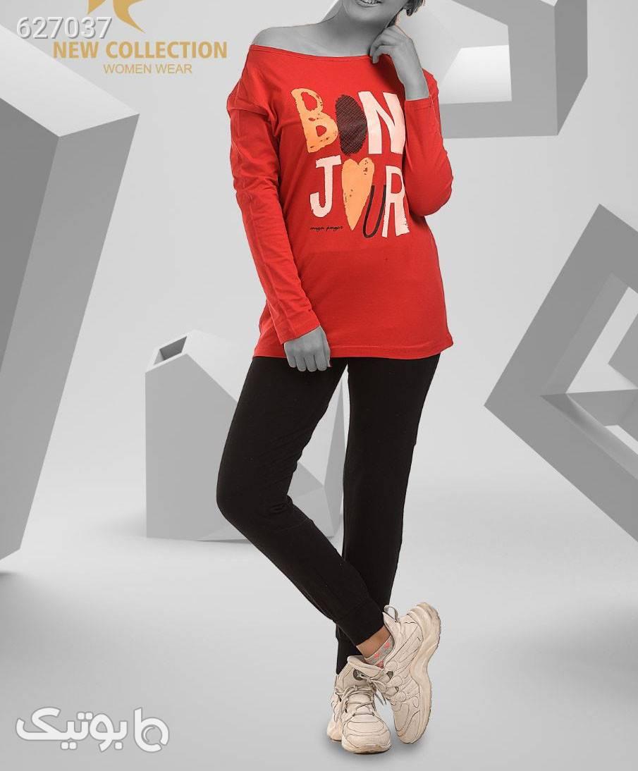 ست بلوز و شلوار  قرمز تی شرت زنانه