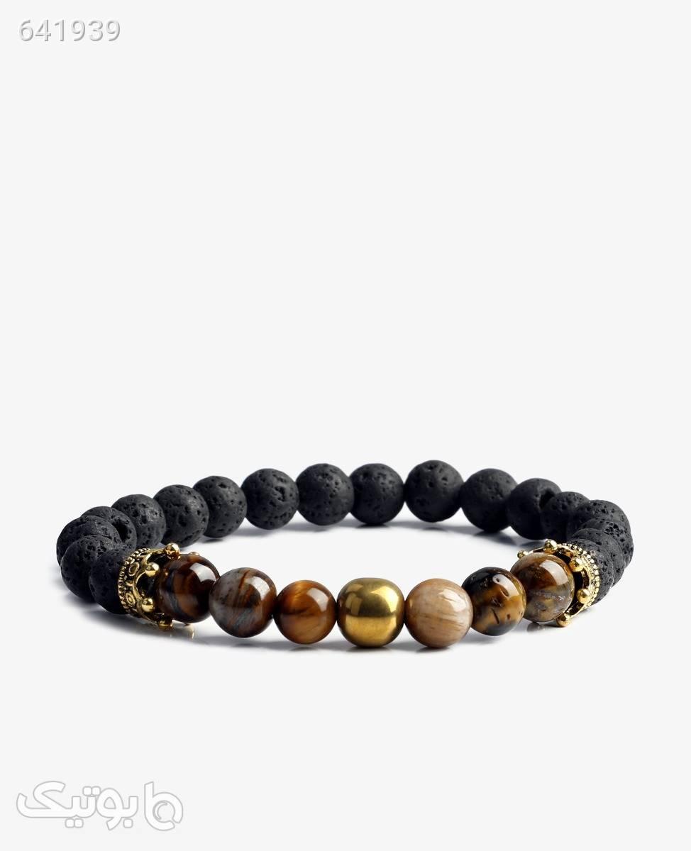 دستبند مهره ای اونیکس مدل 4998قهوه ای طلایی دستبند و پابند