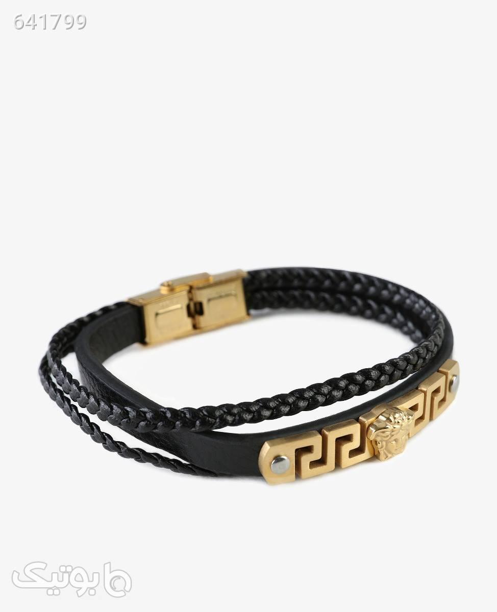 دستبند چرم مردانه Versace مدل 7689 مشکی دستبند و پابند