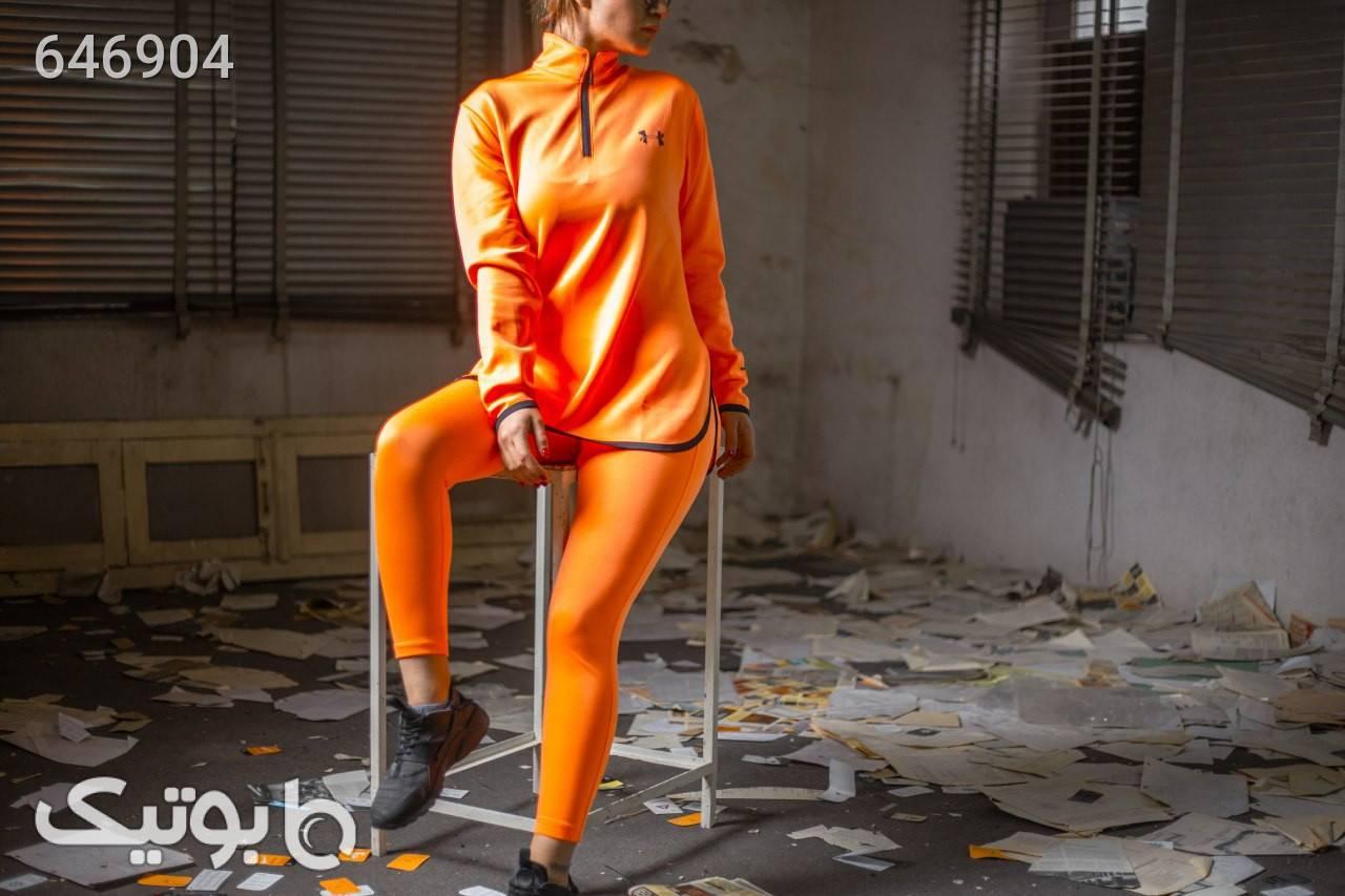 ست سوییشرت و لگ نیم زیب زنانه نارنجی ست ورزشی زنانه