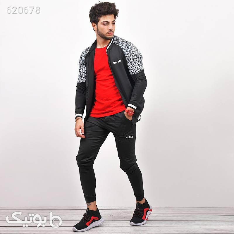 ست سوئيشرت شلوار مردانه Fendi مدل Afshar مشکی ست ورزشی مردانه
