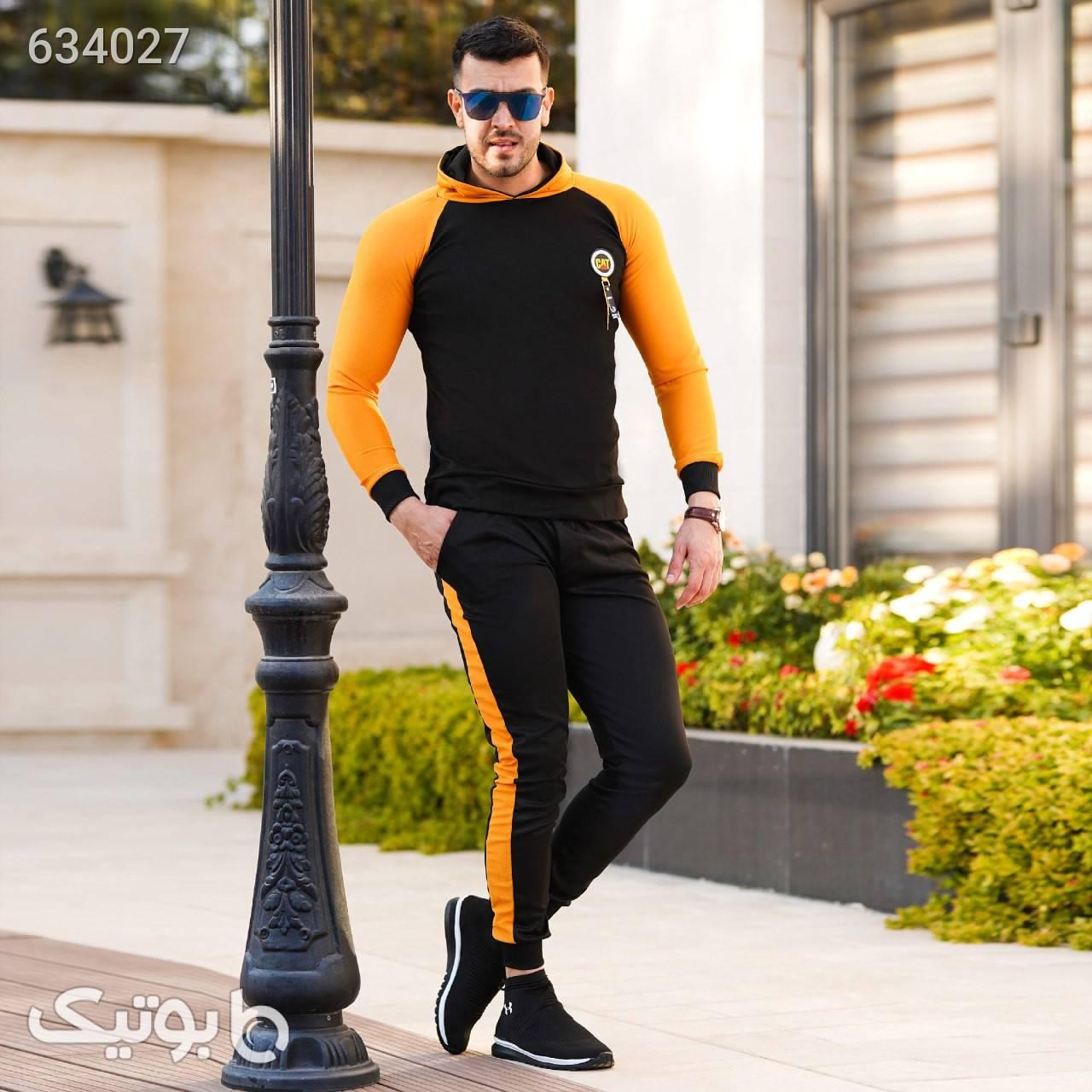 ست سویشرت و شلوار Cat مدل Sadra مشکی ست ورزشی مردانه