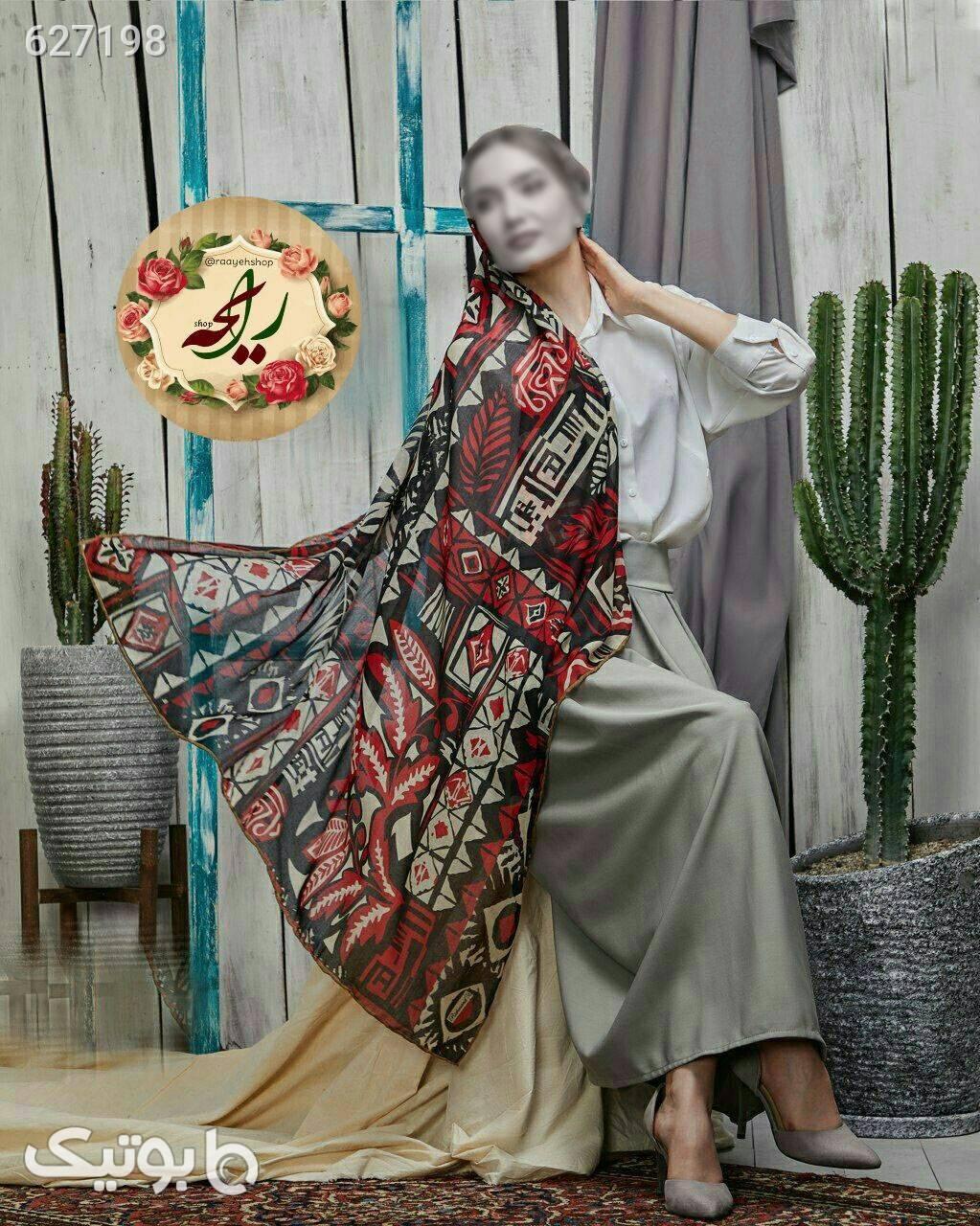 روسری نخی پاییزی قرمز شال و روسری