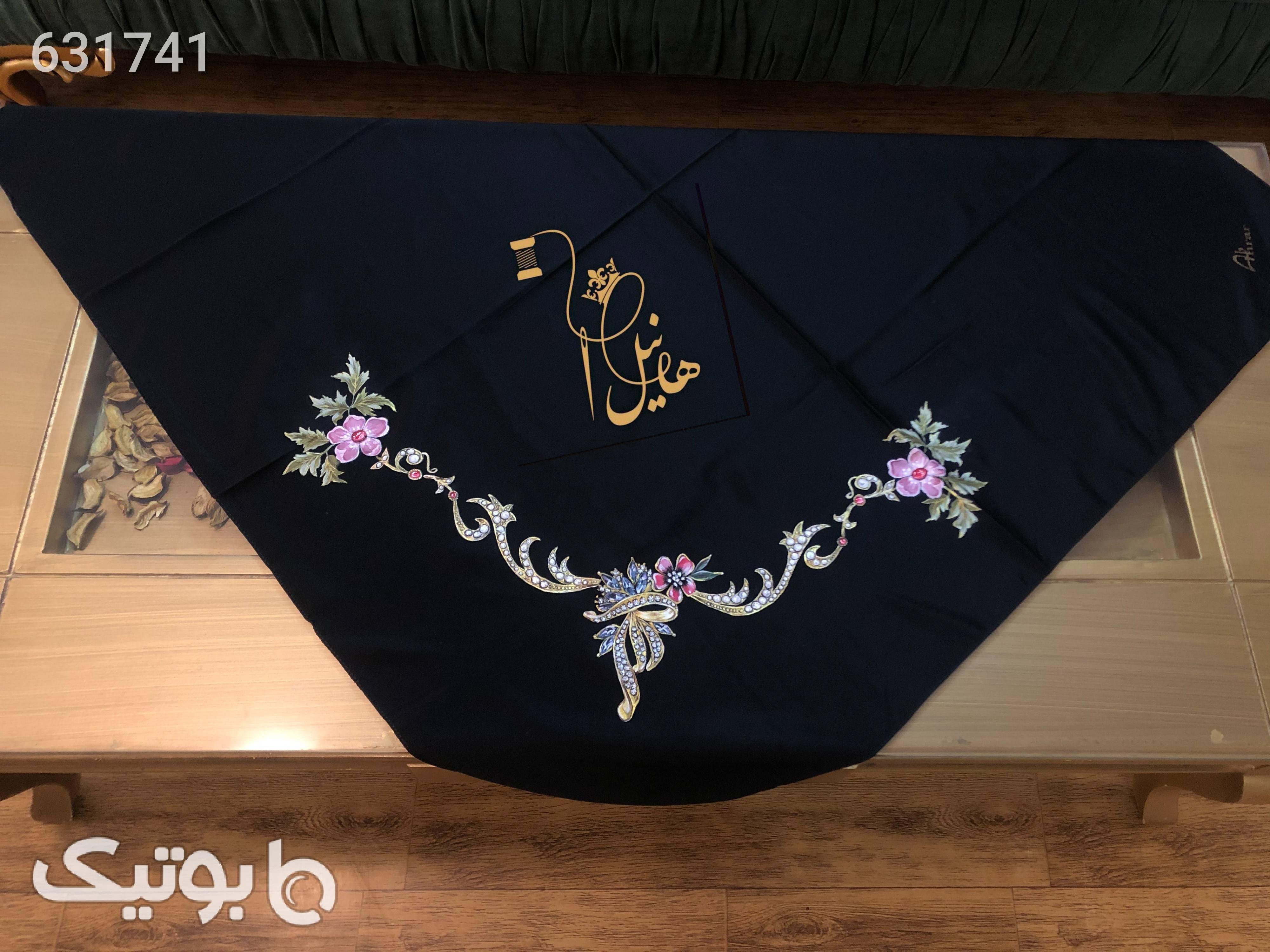 روسری نقاشی  مشکی شال و روسری
