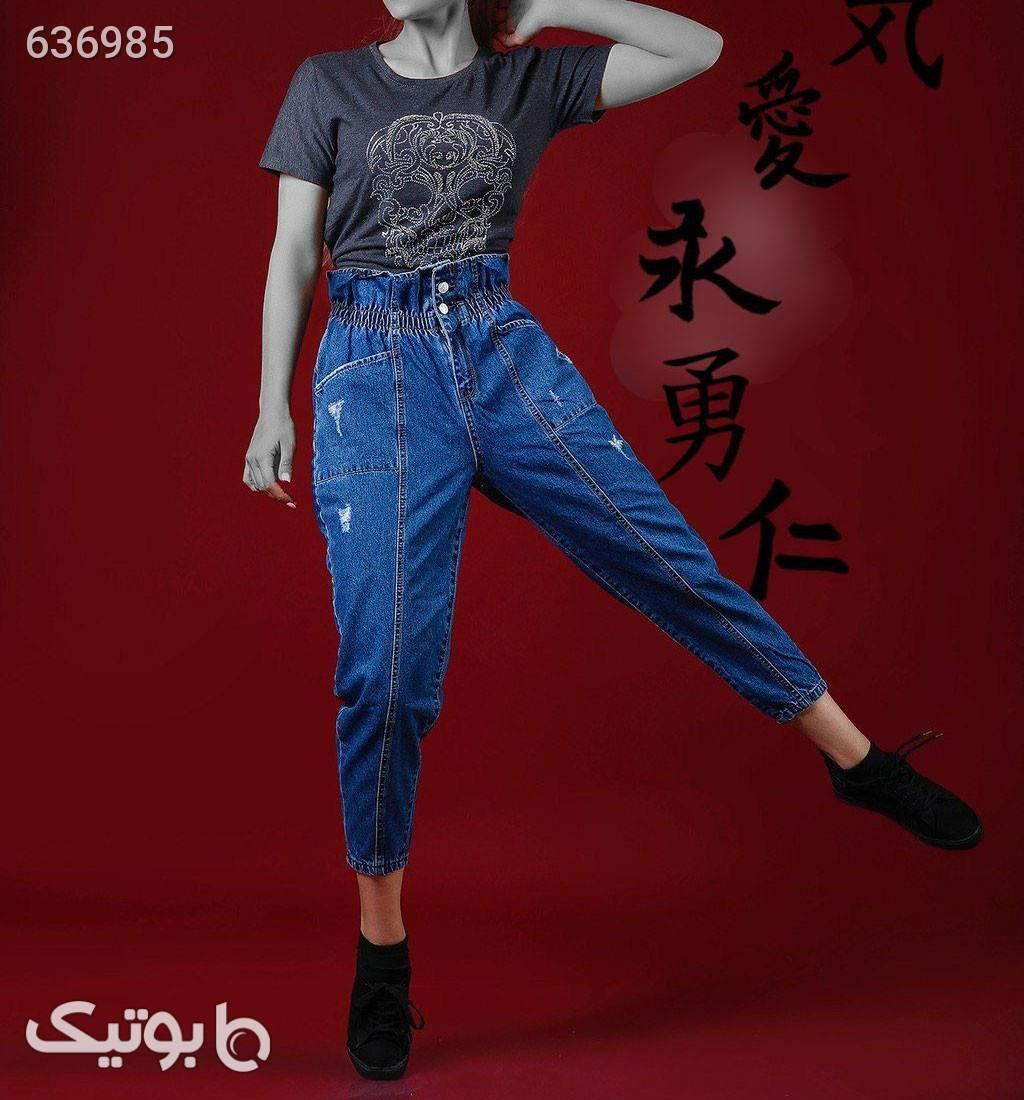 شلوار جین مام فیت آبی شلوار جین زنانه