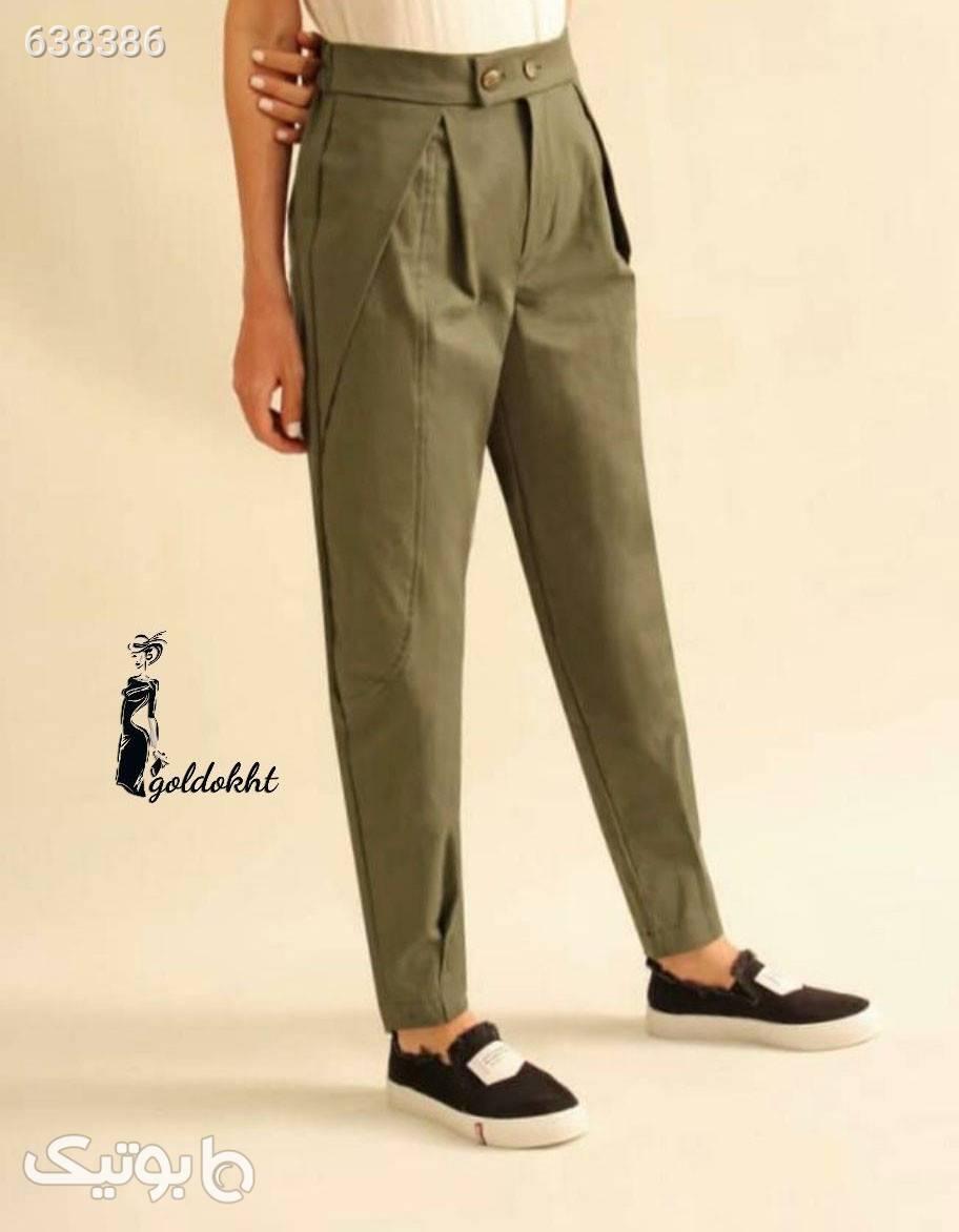 شلوار کتان جین گل_دخت جدید شیک سبز شلوار پارچه ای و کتانی زنانه
