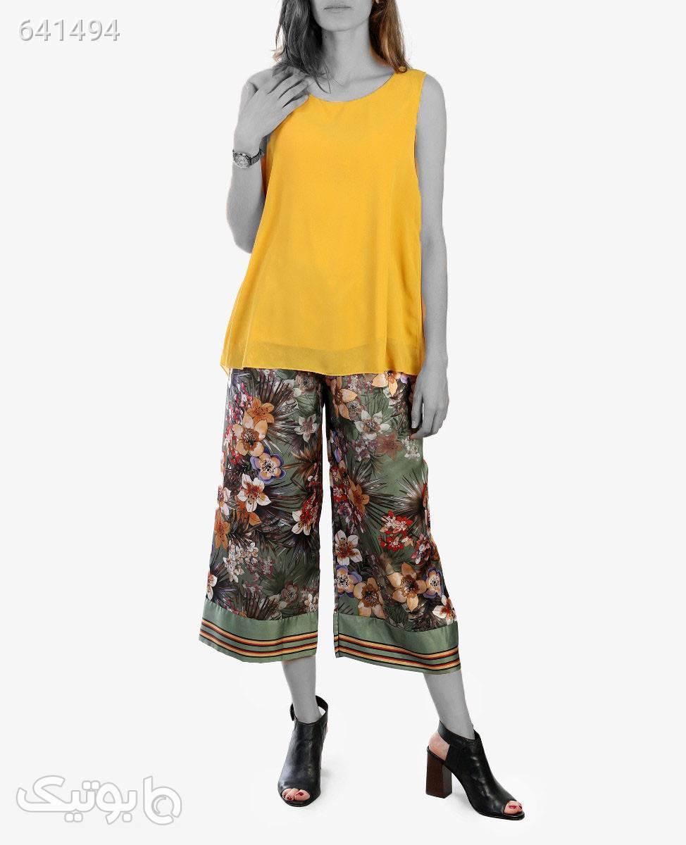 شلوار گشاد زنانه مدل 2175یشمی1 شلوار پارچه ای و کتانی زنانه