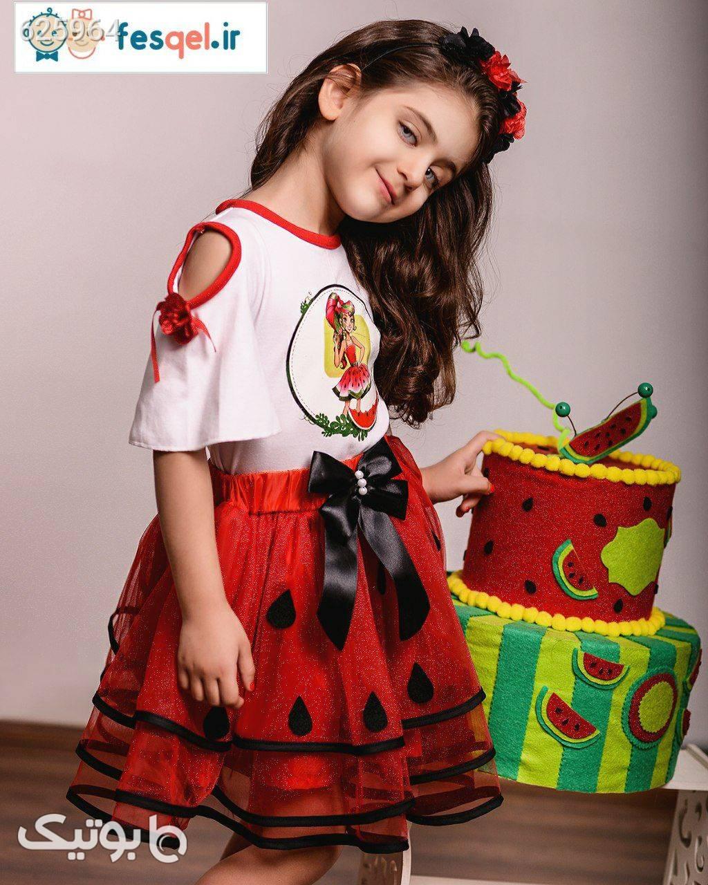 لباس دخترانه هندونه قرمز لباس کودک دخترانه