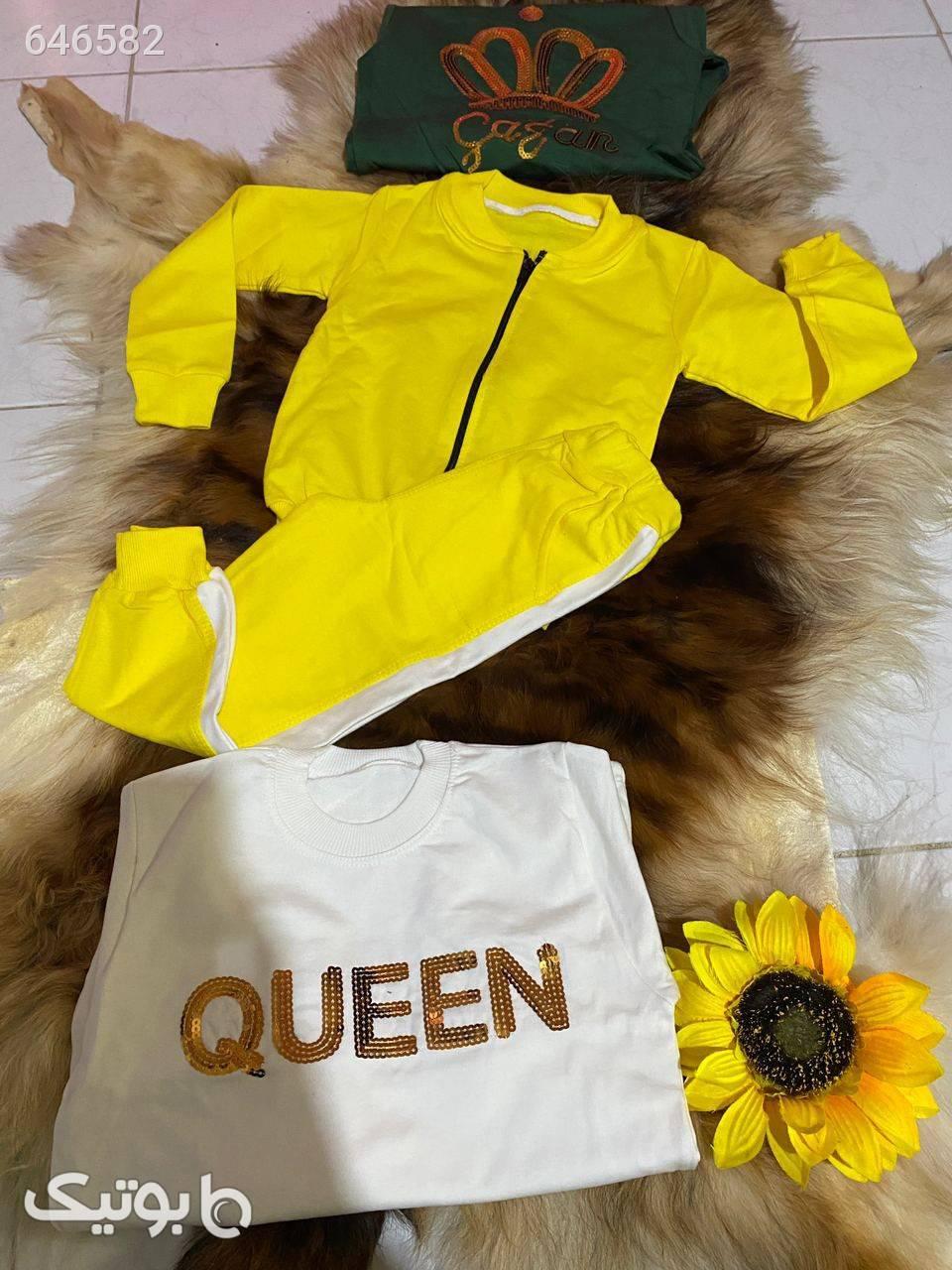 سه تیکه دخترانه ( ارسال رایگان) زرد لباس کودک دخترانه