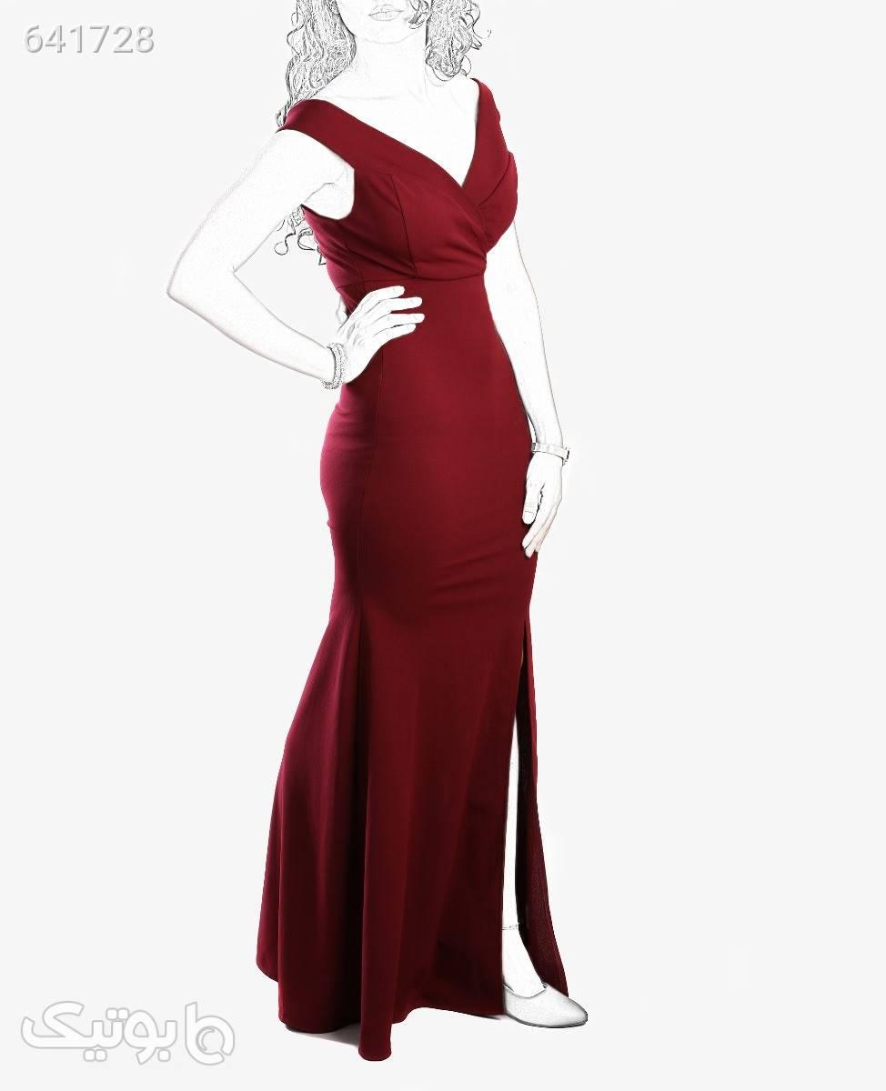 لباس مجلسی بلند زنانه Fashion مدل 7290زرشکیتک سایز زرشکی لباس  مجلسی