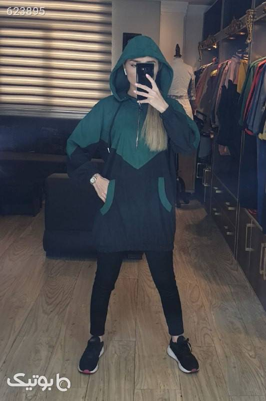 هودی ترکیبی بهاره سبز پلیور و ژاکت زنانه