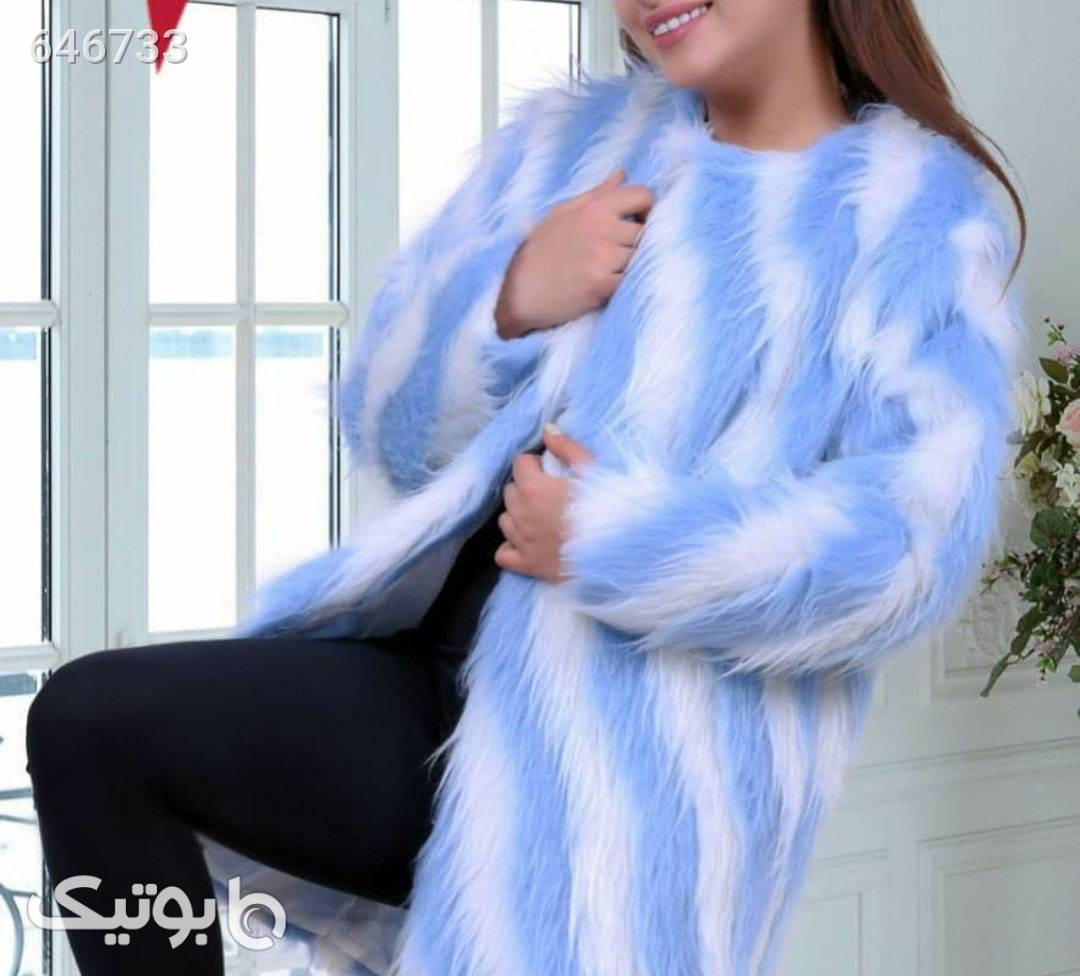 کت خز زمستانه آبی پالتو زنانه