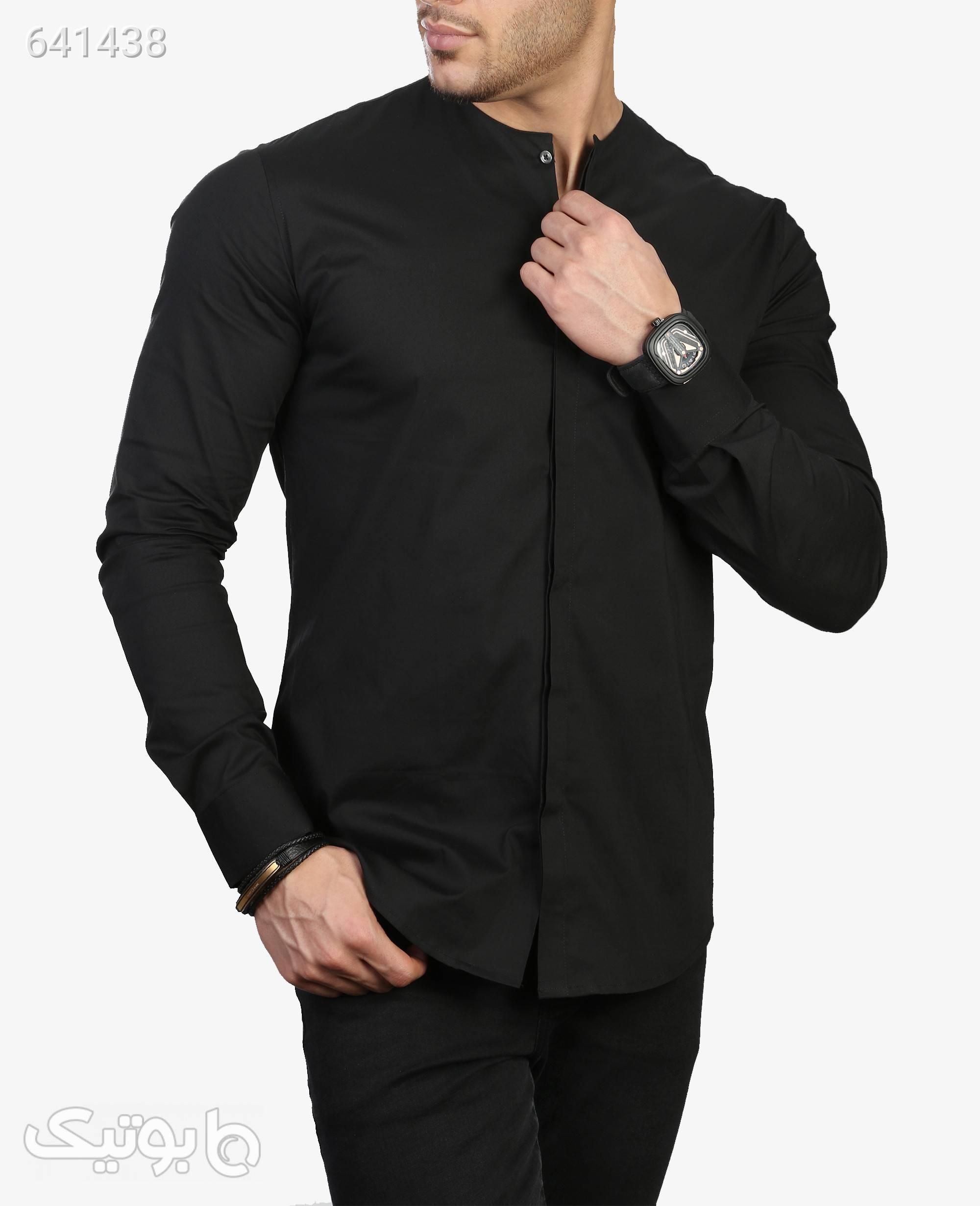 پیراهن آستین بلند مردانه مدل 3304مشکیS پيراهن مردانه