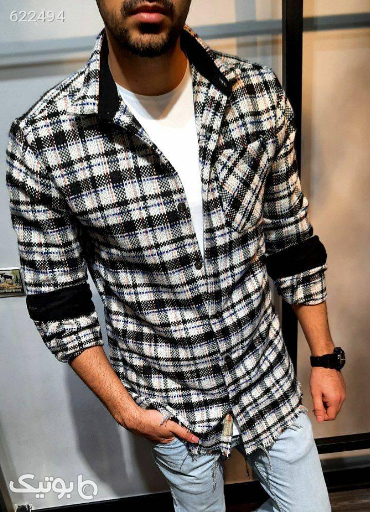 پیراهن پشمی لانگ مشکی پيراهن مردانه