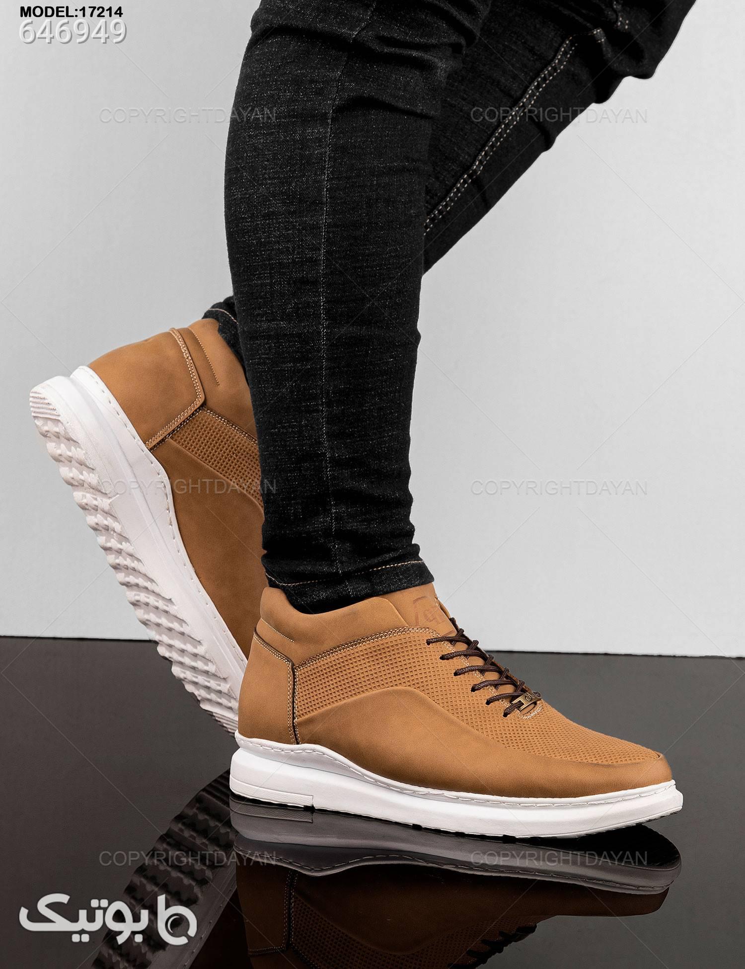 کفش ساقدار مردانه مدل K7214 طلایی كتانی مردانه