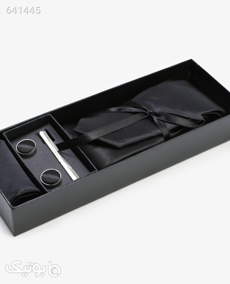 ست کراوات ساده مردانه مدل 3833مشکی كراوات و پاپيون
