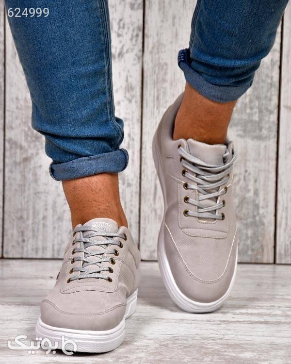 کفش راحتی مردانه مدل اسپانینگ نقره ای كفش مردانه