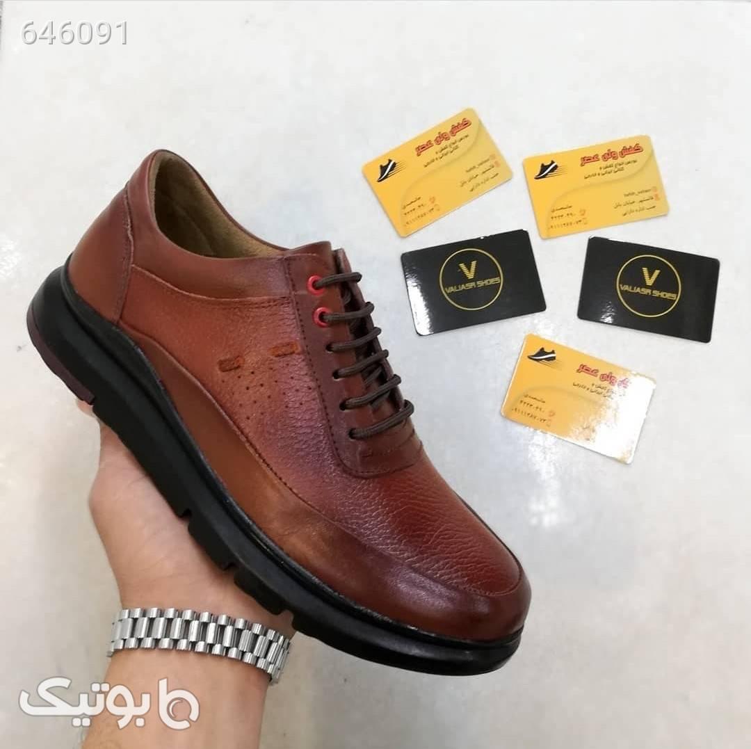 کفش کتونی چرم کفه پیو قهوه ای كفش مردانه