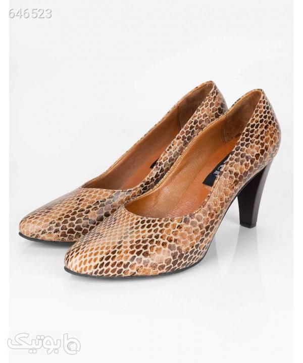 کفش پاشنه بلند زنانه چرم شیفر Shifer مدل 5m04a قهوه ای كفش پاشنه بلند زنانه