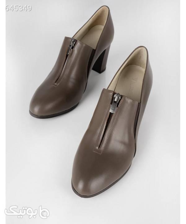 کفش پاشنه بلند زنانه چرم مشهد Mashad Leather مدل J2359 قهوه ای كفش پاشنه بلند زنانه