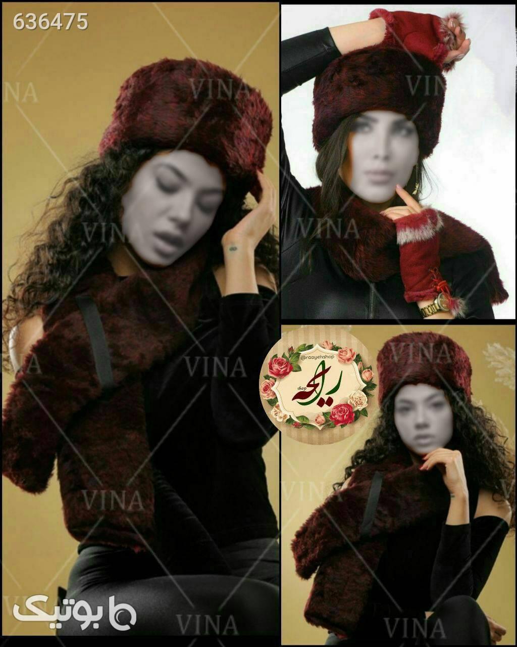 ست شال و کلاه روسی طوسی کلاه بافت و شال گردن و دستکش