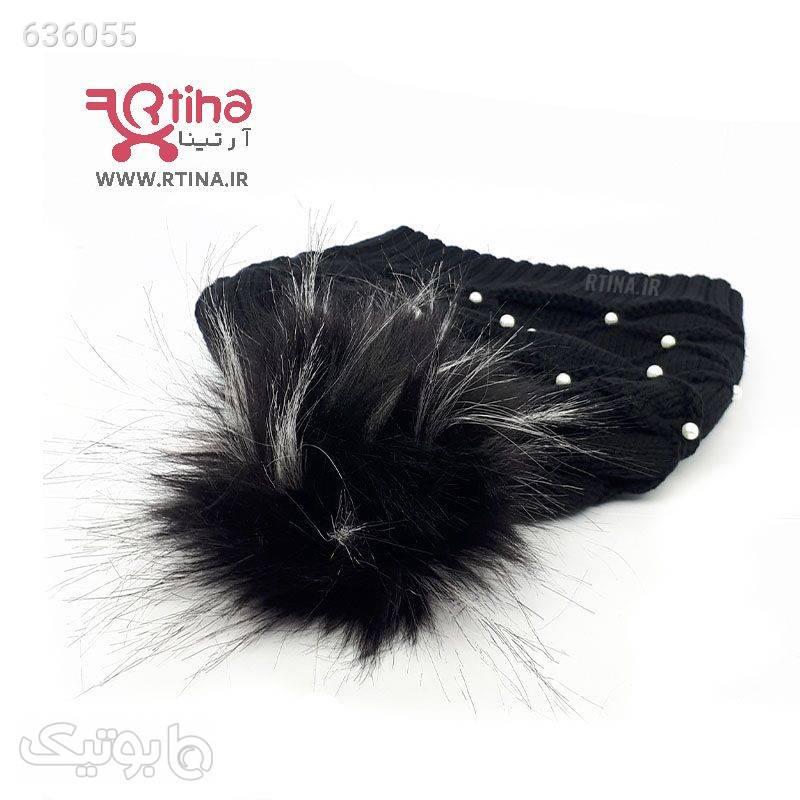 شال و کلاه بافتنی زنانه و دخترانه مدل مرواریدی مشکی کلاه بافت و شال گردن و دستکش