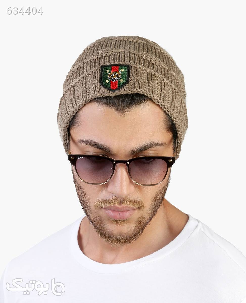 کلاه بافت بلند مردانه Gucci مدل 3771کرم کرم کلاه بافت و شال گردن و دستکش