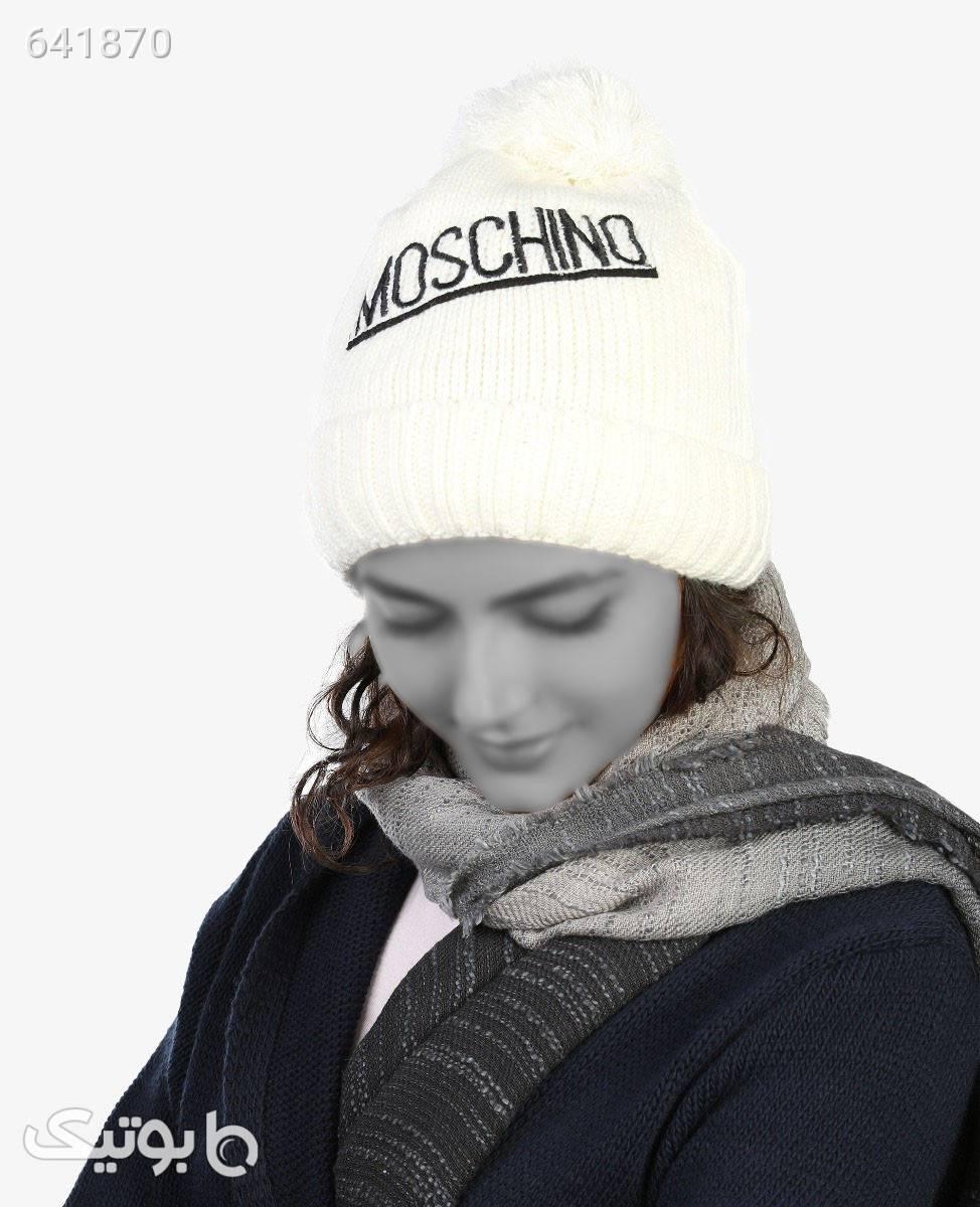 کلاه بافت زمستانی زنانه Moschino مدل 4910سفید سفید کلاه بافت و شال گردن و دستکش