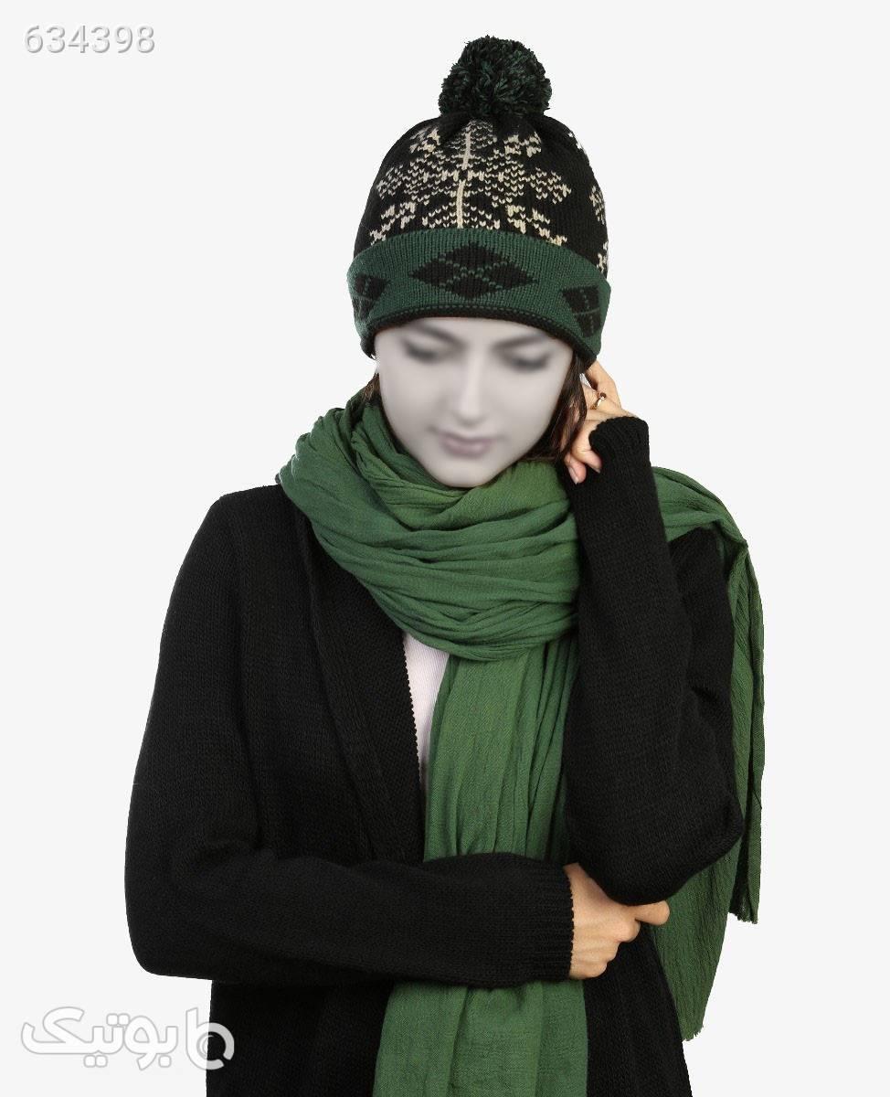 کلاه بافت زمستانی Fonem مدل 2533مشکی سبز کلاه و اسکارف