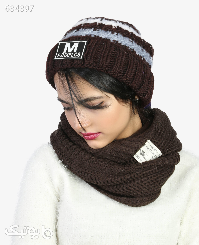 کلاه بافت زمستانی M Fjxflcs مدل 1482قهوه ای قهوه ای کلاه و اسکارف