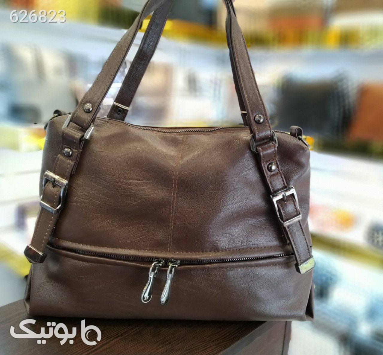 کیف زنانه شسته جلوزیپ فلزی نقره ای كيف زنانه